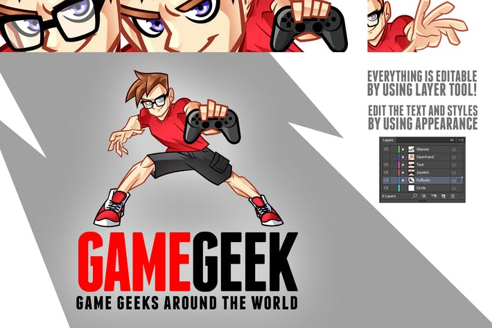 Cover Image For Cartoon Cool Geek Gamer Boy Mascot Logo Kit