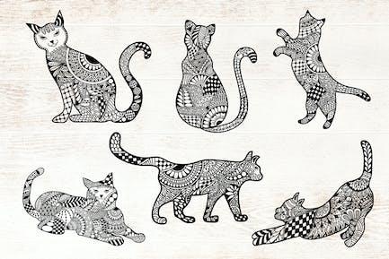 Katzen Doodle Art - Mandala-Katze