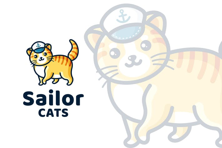 Thumbnail for Sailor Cats Cute Kids Logo Template