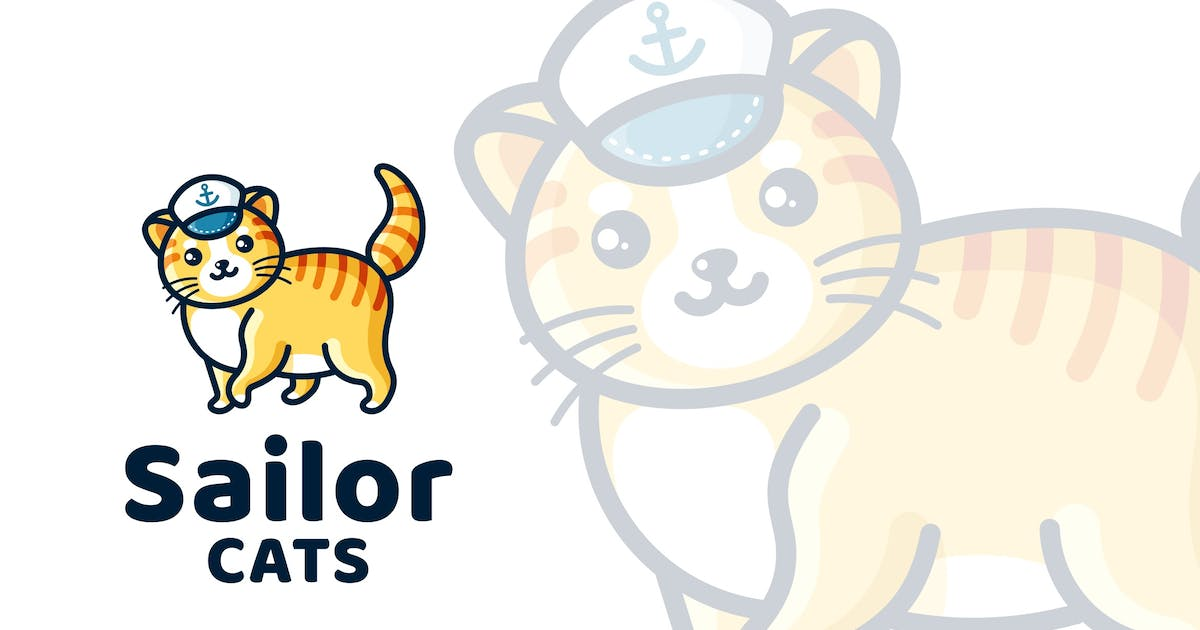 Download Sailor Cats Cute Kids Logo Template by IanMikraz