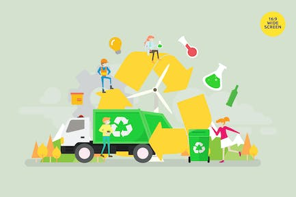 Waste Recycling Vector Illustration Concept
