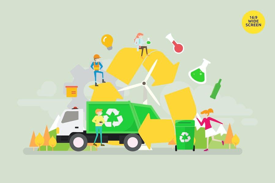 Abfallrecycling Vektor Illustrationskonzept