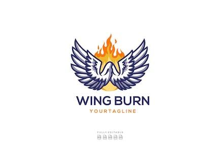 Wing Burn Fire Logo