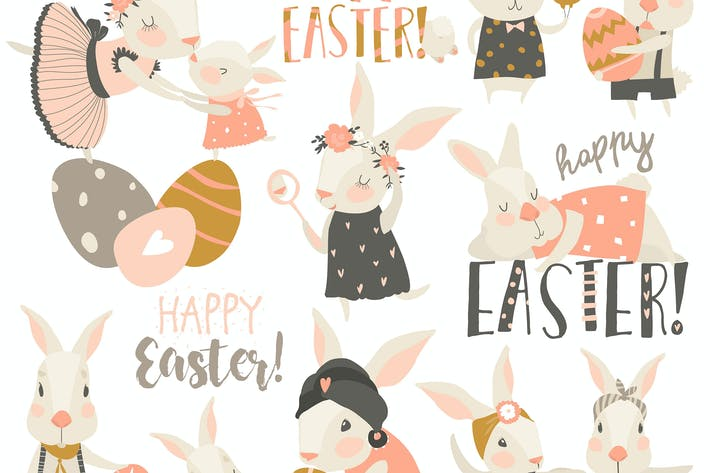 Vector set cartoon illustration of cute rabbit