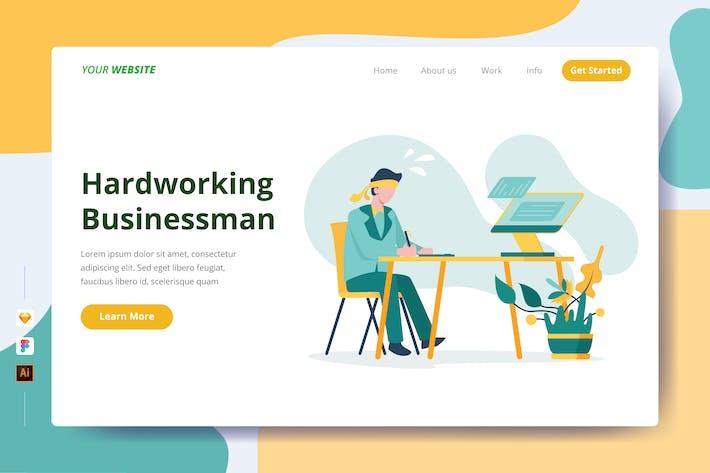 Thumbnail for Hardworking Businessman - Landing Page