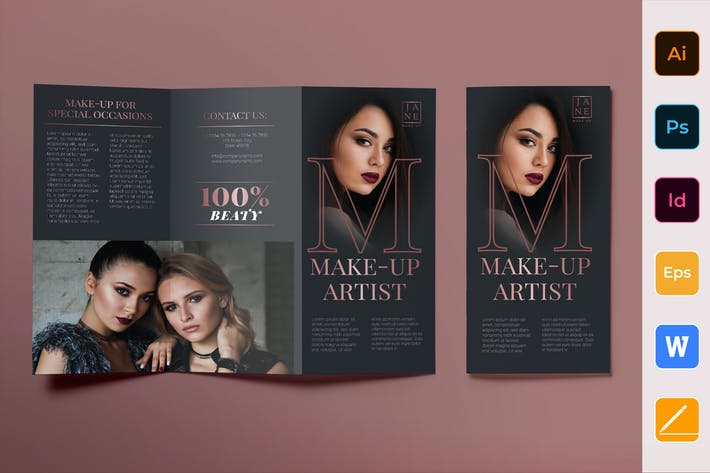 Thumbnail for Makeup Artist Brochure Trifold