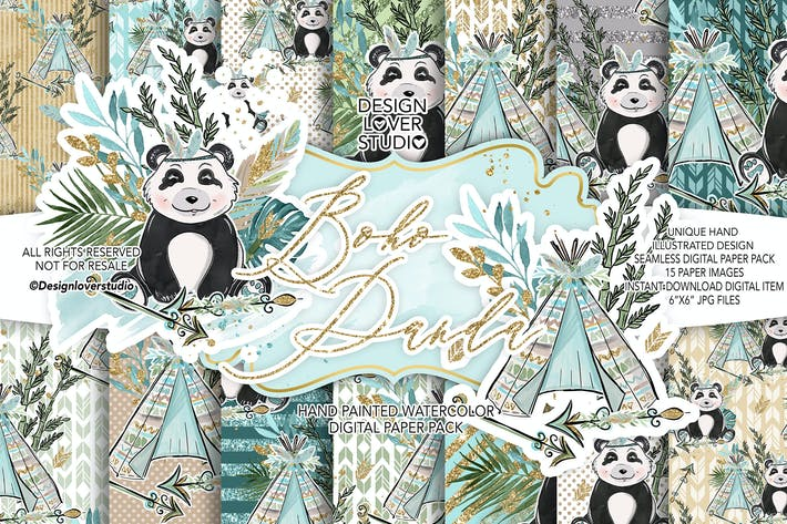 Thumbnail for Boho Panda digital paper pack