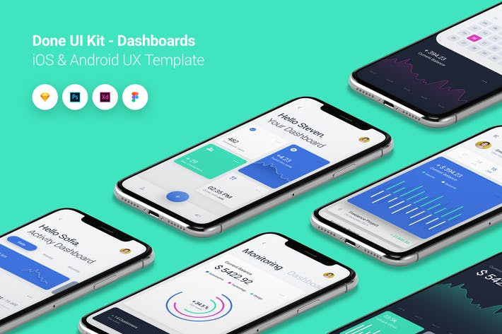 Thumbnail for Dashboard - Done UI Kit iOS & Android UX Template