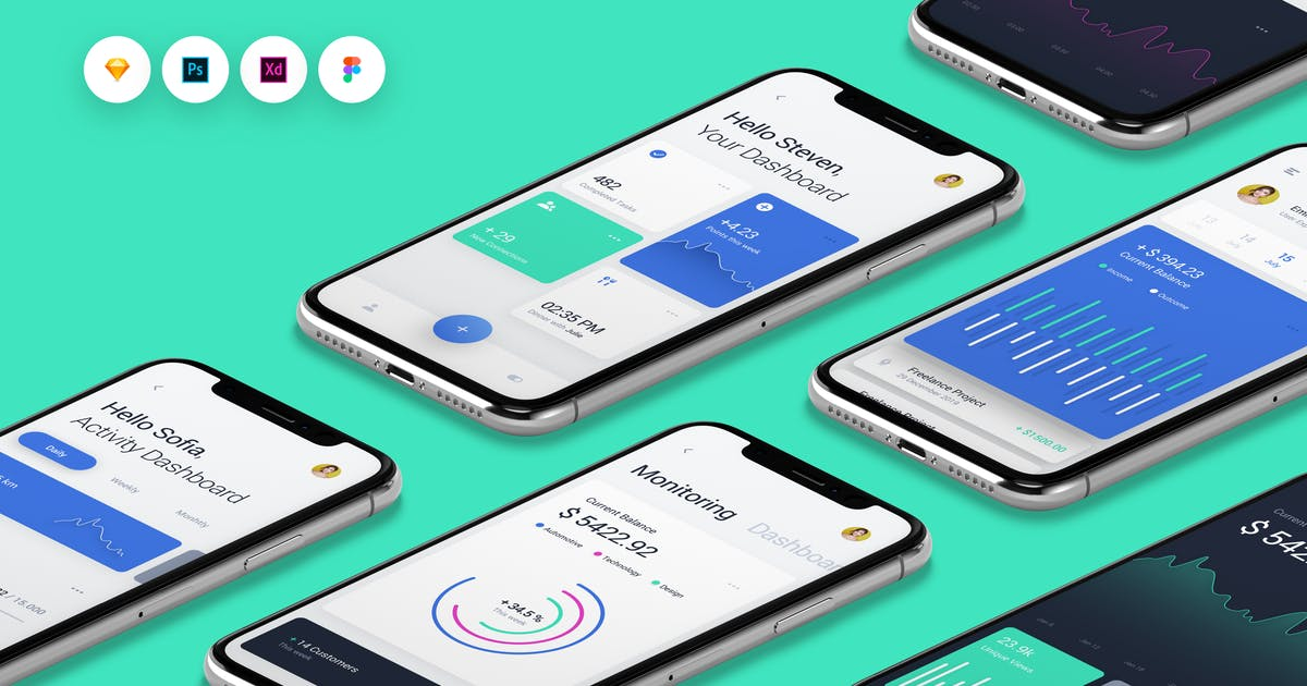 Download Dashboard - Done UI Kit iOS & Android UX Template by panoplystore