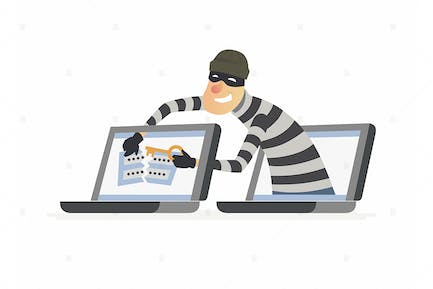 Hacker stealing password - colorful illustration