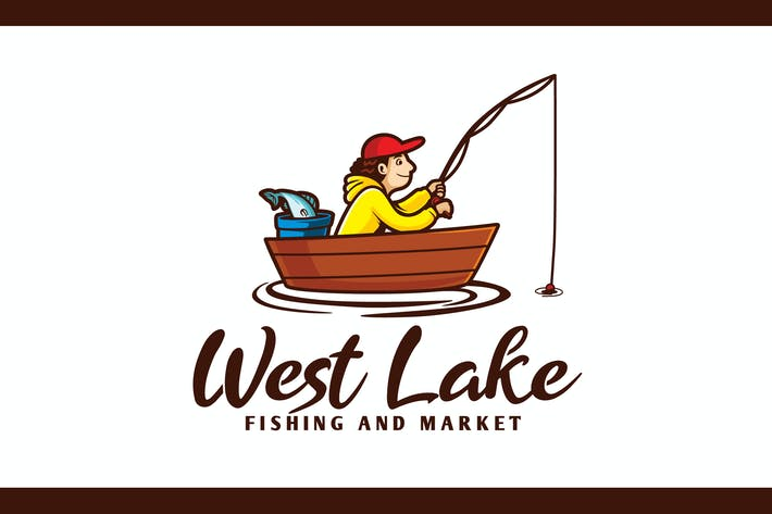 Thumbnail for Cartoon Fisherman Character Mascot Logo