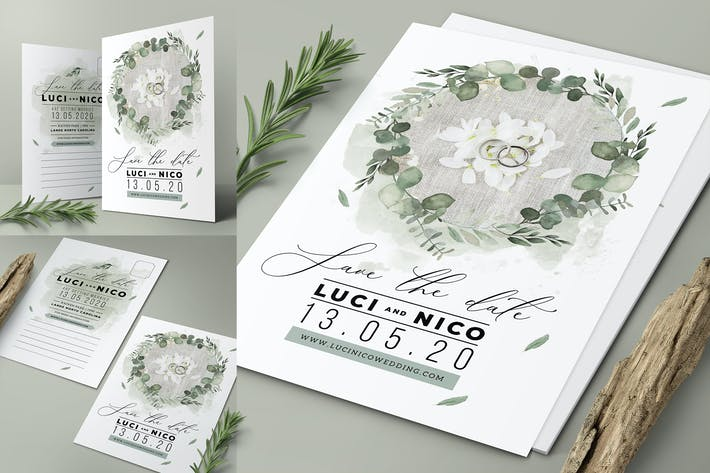 Thumbnail for Speichern Sie die Datums-Postkarte