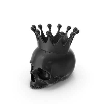 Black Skull Head Candle with Crown