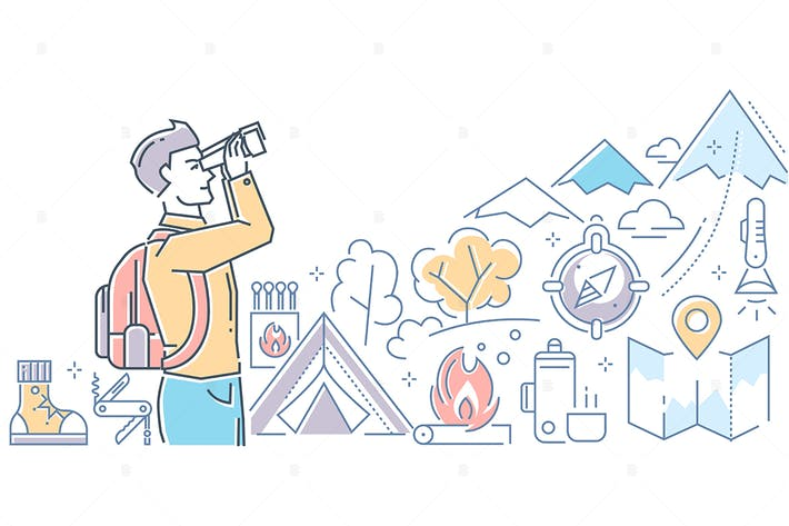 Thumbnail for Tourism - colorful line design style illustration