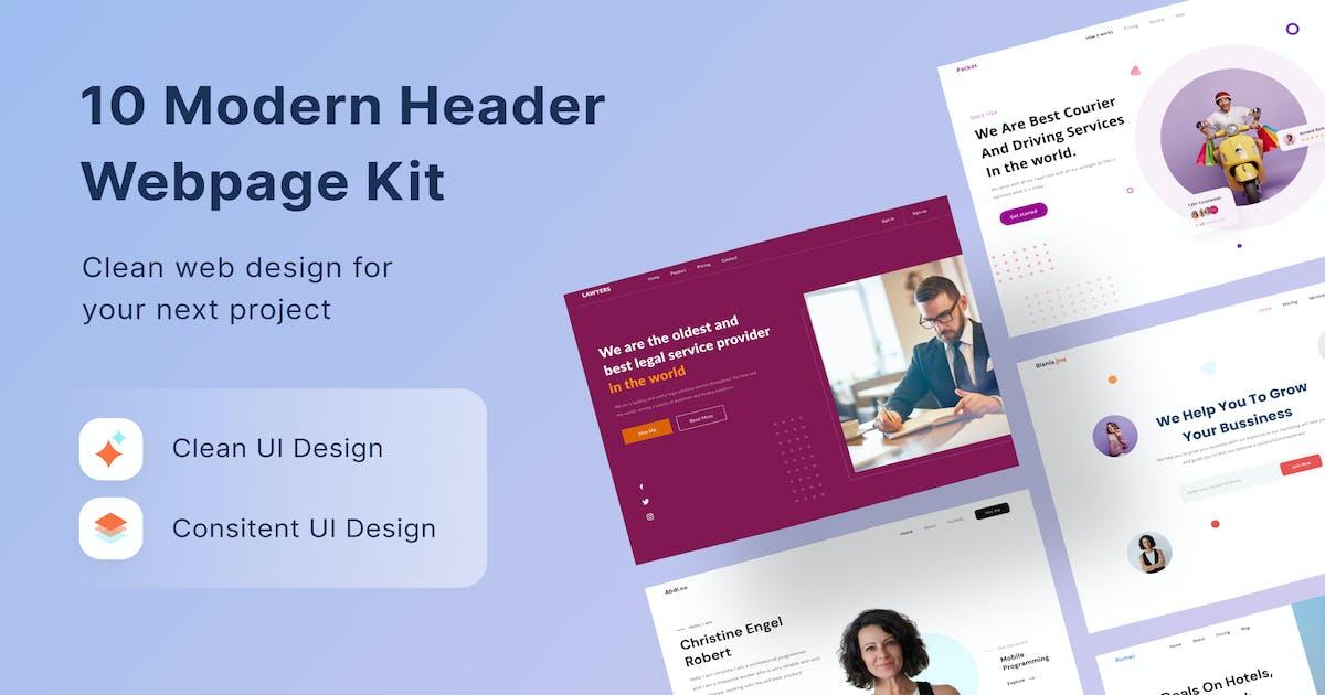 Download 10 Modern Header Website UI Kit by DimoGraphic
