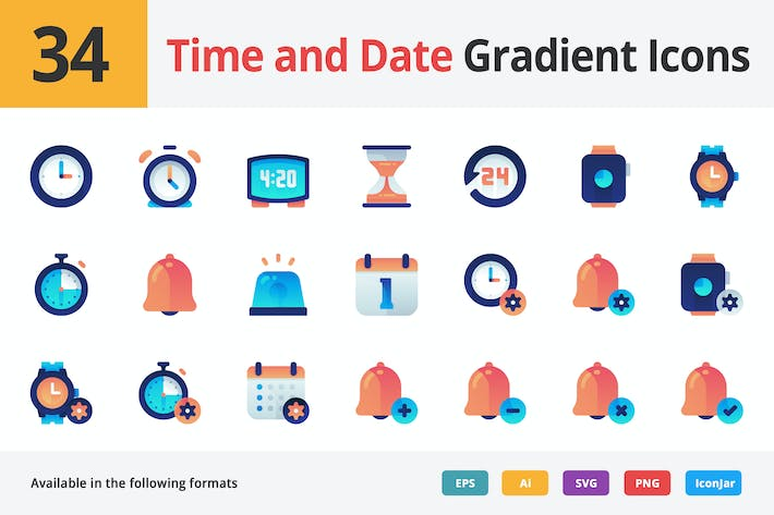 Thumbnail for Time and Date Gradient Vector Icons