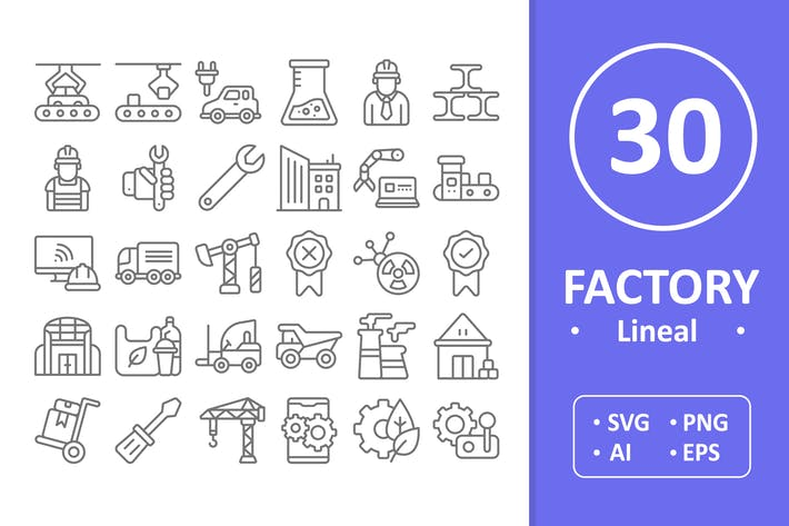 Thumbnail for 30 Factory Icons - Line