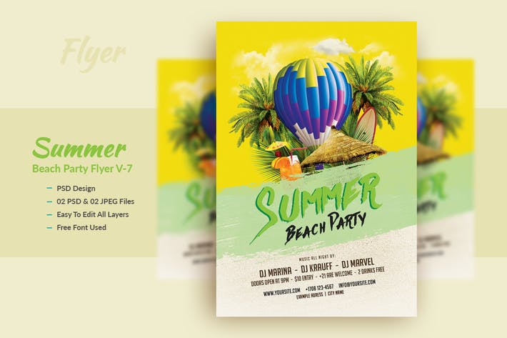 Thumbnail for Summer Beach Party Flyer Template V-7
