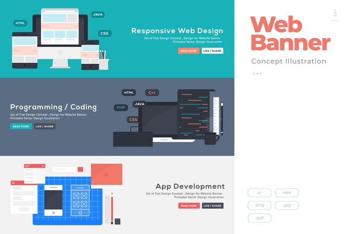 Thumbnail for Flat Design Banner Concept for Code and Developer