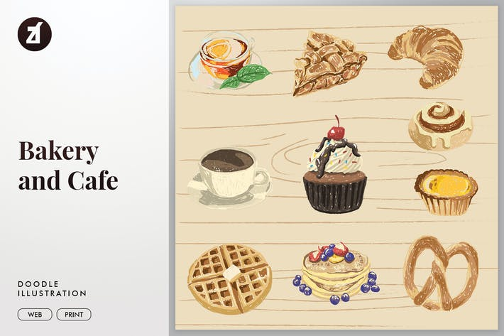 Thumbnail for Bakery and cafe doodle vector illustration