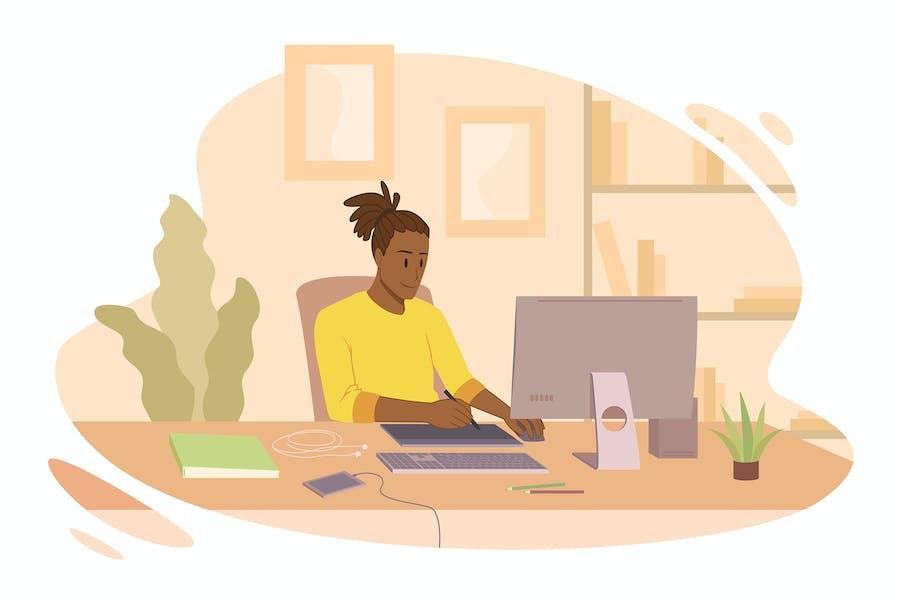 Designer freelancer work at home