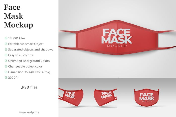 Thumbnail for Masque Visage Mockup - 12 Fichiers PSD