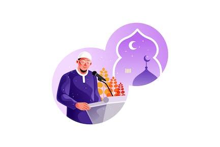 L' homme musulman donne des conférences religieuses