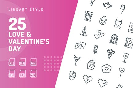 Love & Valentine's Day Line Icons