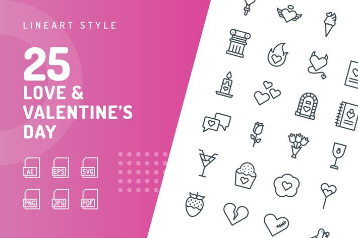 Love & Valentine's Day Line Icons