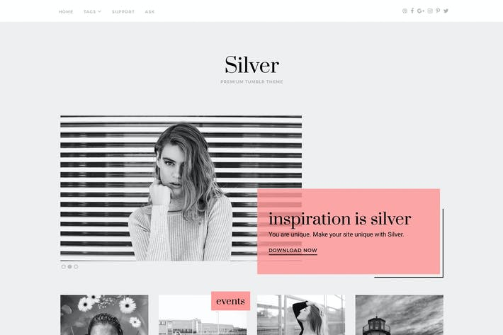 Thumbnail for Silver Tumblr Theme
