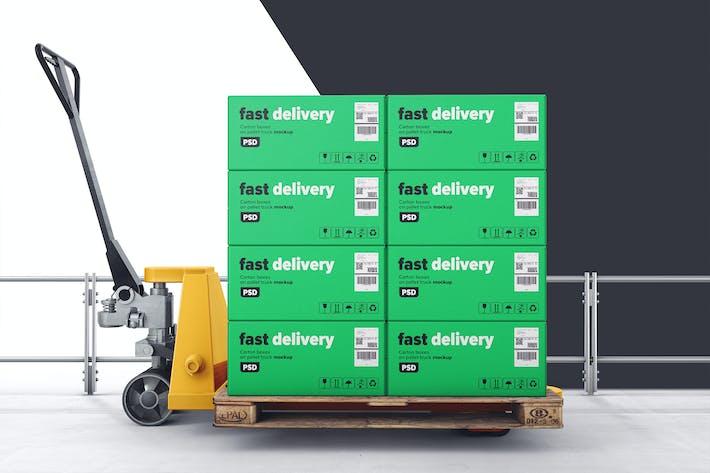 Kartonboxen auf Palettenhubwagen Mockup