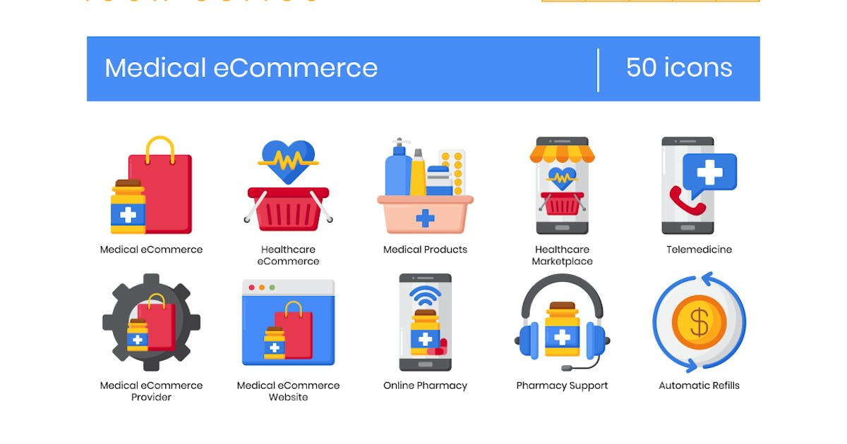 Download 50 Medical eCommerce Icons - Rich Series by Krafted
