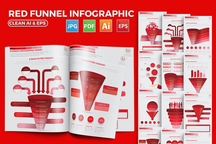 Thumbnail for Red Filter Funnel Infographic Design