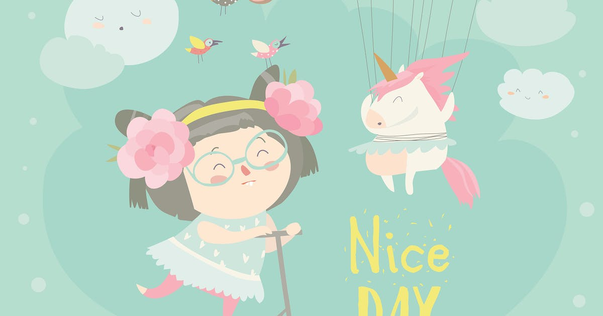 Download Cute girl with her little unicorn. Vector greeting by masastarus
