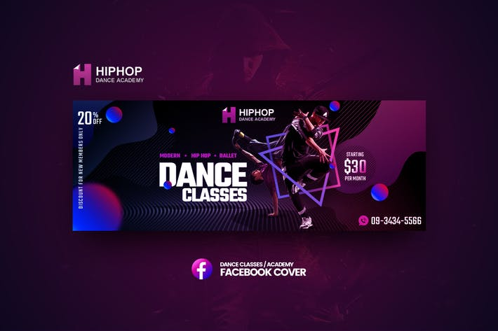 Thumbnail for Hiphop - Dance Classes Facebook Cover Template