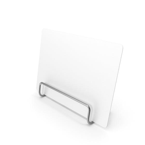 Weißes Schreibtisch-Papierbanner mit Stahlständer