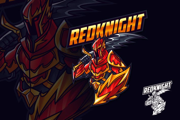 Thumbnail for Red Knight Mascot Esports and Sports Logo