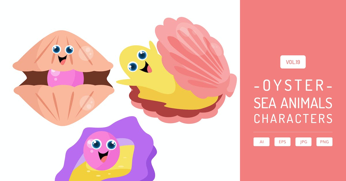 Download Cute Oyster - Sea Animals Characters Vol.19 by Graphiqa