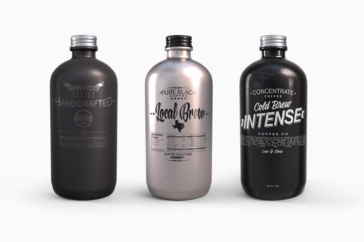 Thumbnail for Plastic Metal Boston Round Bottles Mockup