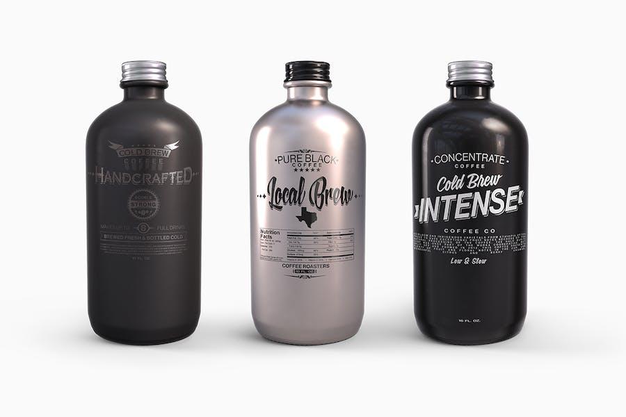 Kunststoff Metall Boston Runde Flaschen Mockup