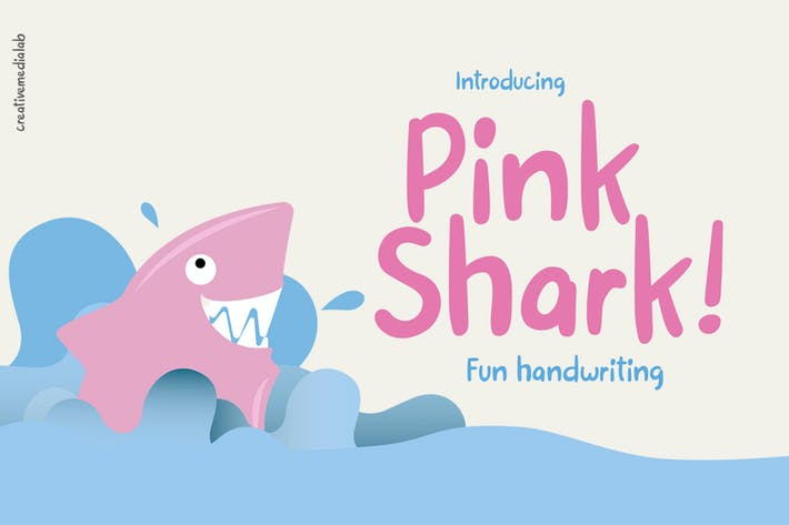 Thumbnail for Pink Shark - Fun handwritten