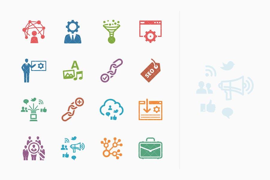 Íconos de marketing en Internet y SEO coloreado - Kit 2