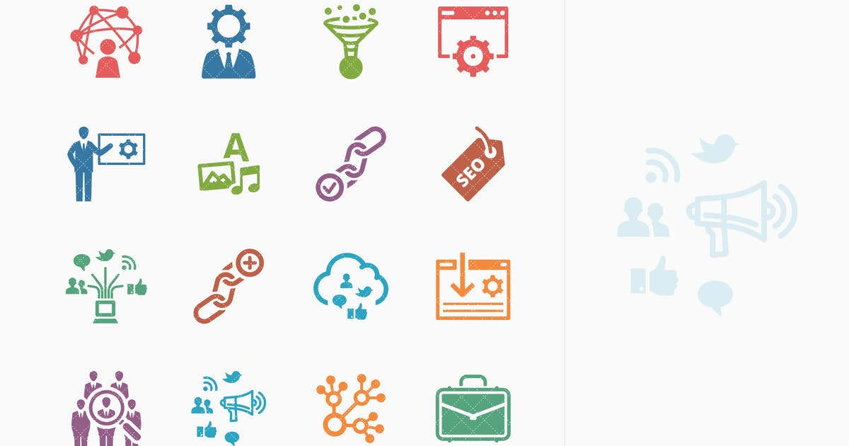 Colored SEO & Internet Marketing Icons - Set 2 by introwiz1