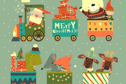 Cheerful Christmas train with Santa and animals.