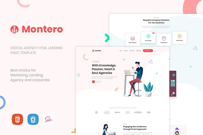 Cover Image For Montero | One Page Parallax HTML5 Template