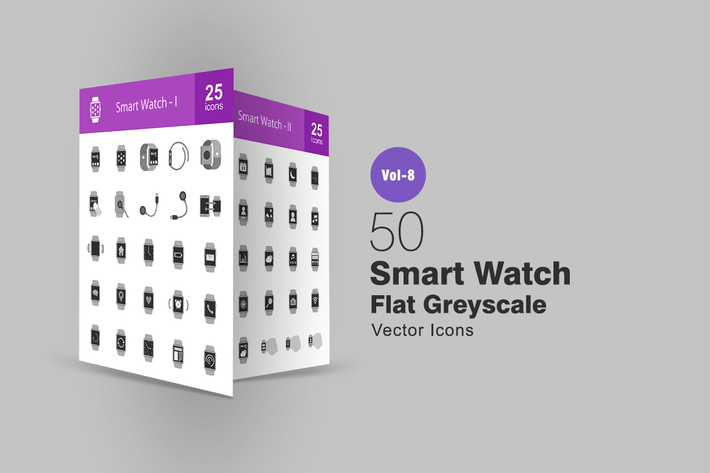 Thumbnail for 50 Smart Watch Flat Greyscale Icons