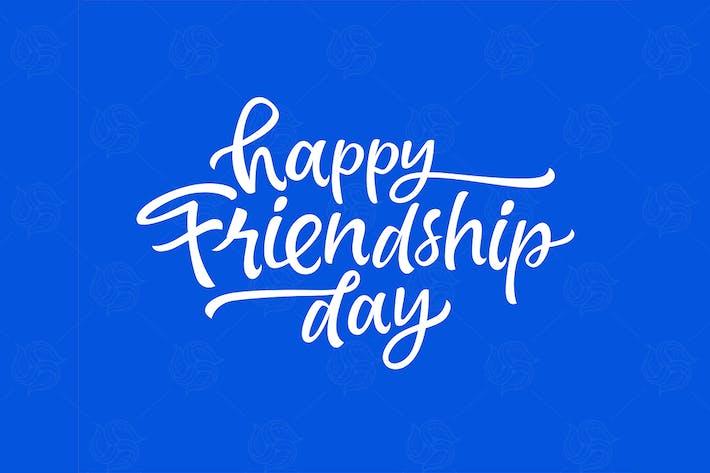 Thumbnail for Journée de l'amitié - lettrage au pinceau dessiné à la main Vecteur