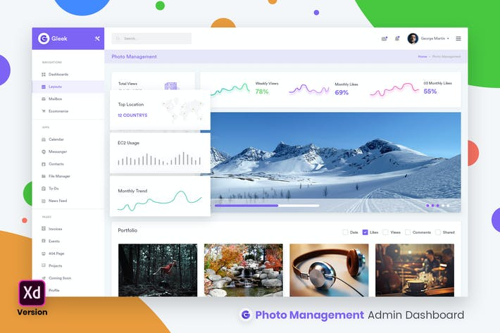 Thumbnail for Photos Management Admin Dashboard UI Kit (XD)