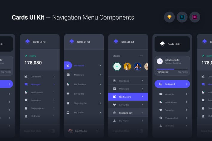 Cards UI Kit - Navigation Menu Components Widgets