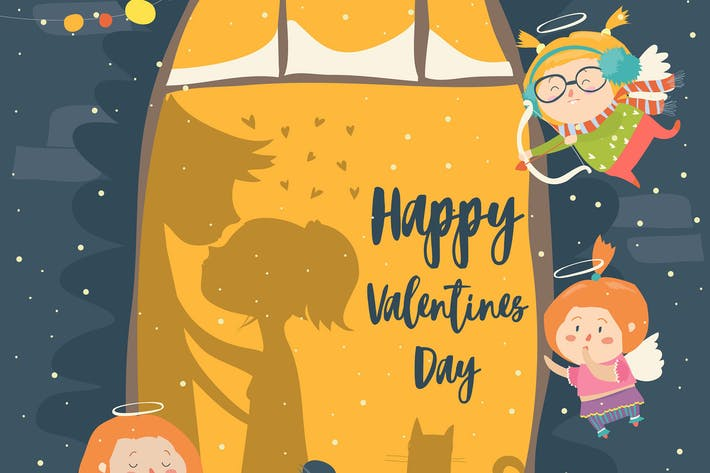 Thumbnail for St.Valentine card with cupid and couple. Vector